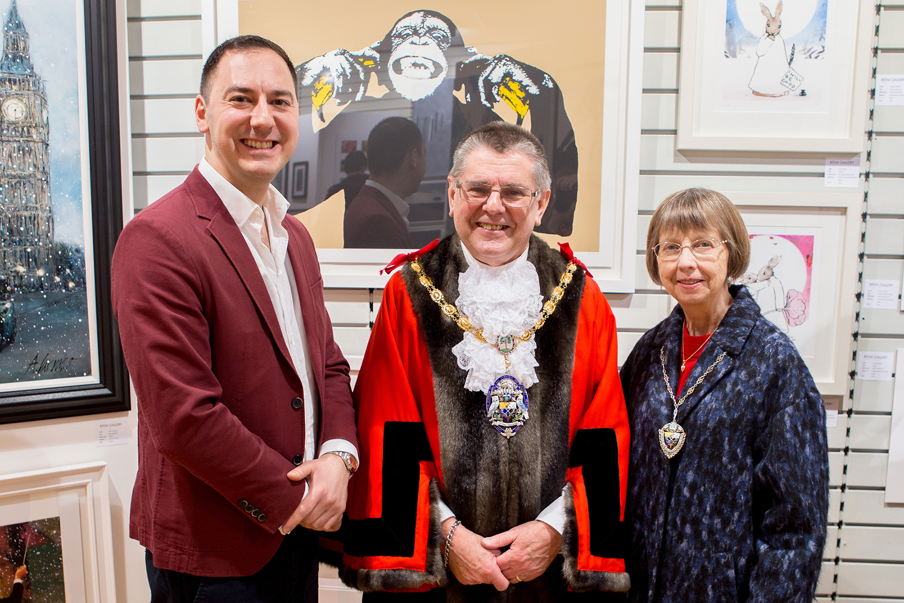 The Mayor & Mayoress at the Reem Gallery stand with Zaid Alexander Badda (Gallery Director).