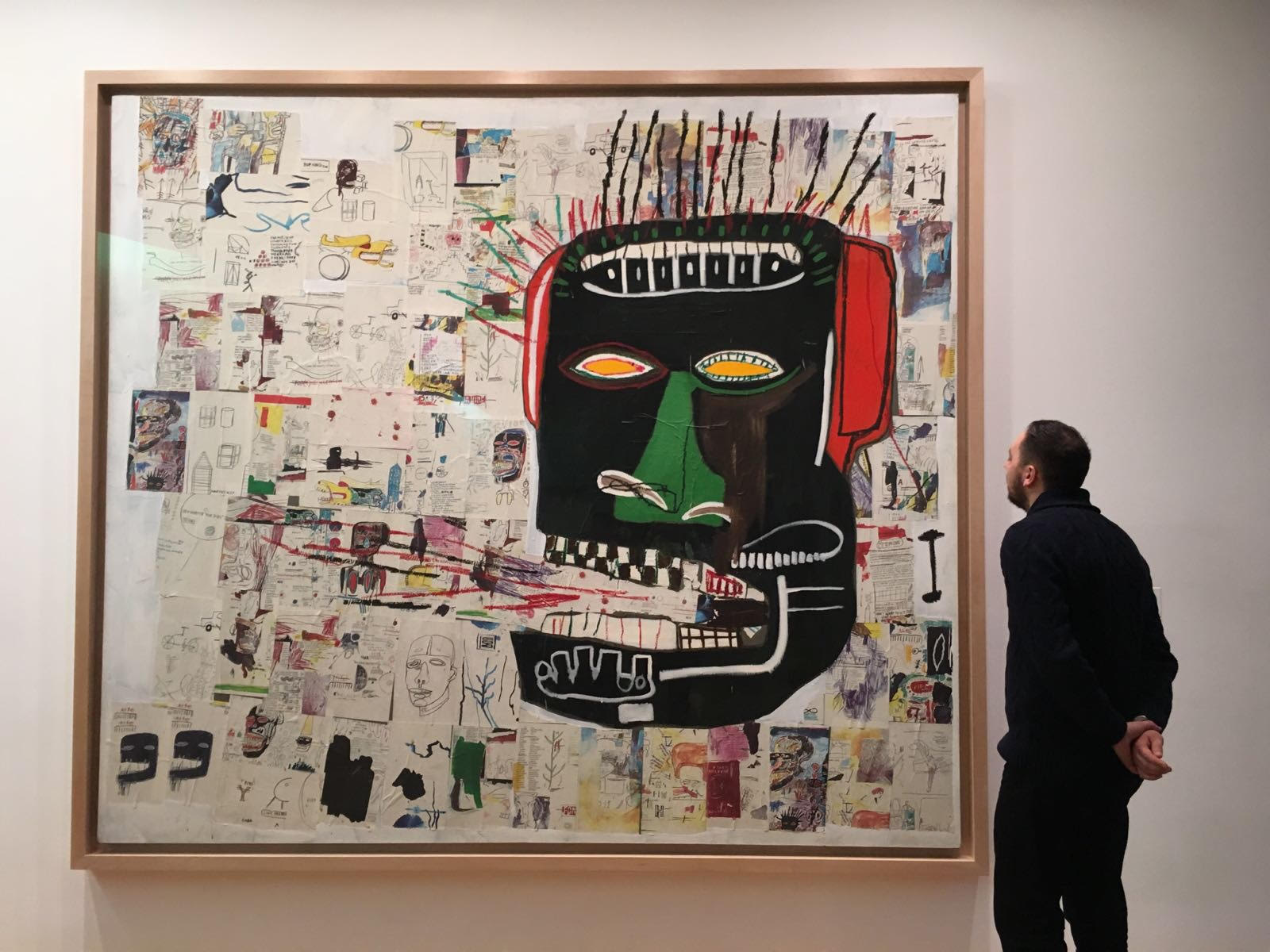 Zaid admiring the sheer scale of Basquiat's 'Glenn' (1984), at the MoMA in New York.
