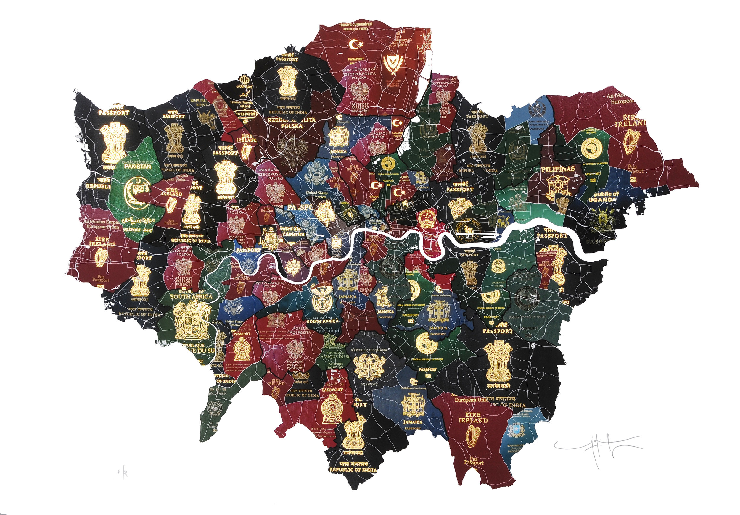'London Passport Map' by Yanko Tihov. Archival print with 23 carat shell gold, signed limited edition of 30, priced at £1,800 unframed.