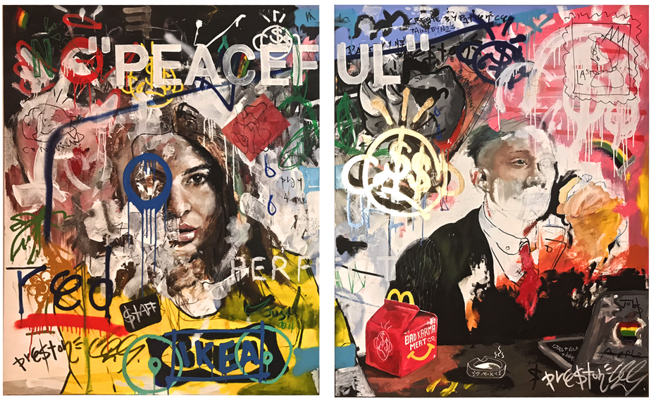 'Peaceful Chaos'  by  Preston Paperboy . A mixed-media diptych by one of the UK's most promising emerging artists.