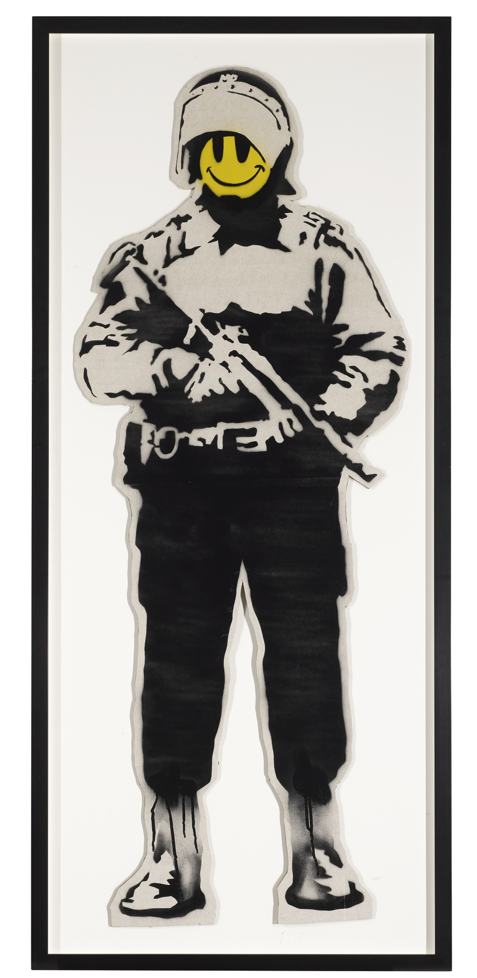 'Smiling Copper' by Banksy. Spray paint and acrylic on shaped cardboard.