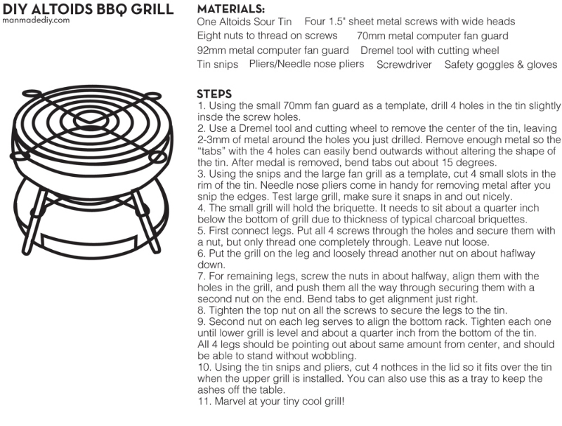 Seriously, how cool is this?! This mini-grill is perfect for burger sliders or hot dogs. Reminder: even though it's miniature and harmless-looking, these will heat up pretty fast and should be used with caution! Enjoy, grillmasters  Source:   manmadediy.com