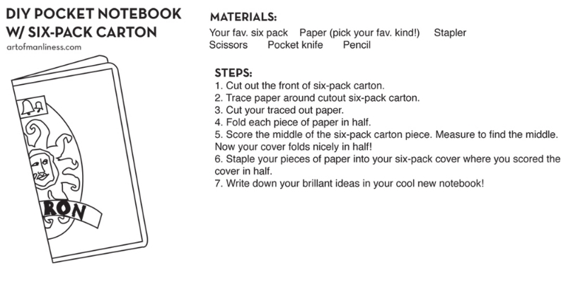 Be the Ideas Man with this easy DIY.Whether it's for writingto-do lists or clever song lyrics for your band, pocket notebooks are a useful, convenient thing to have on you when inspiration strikes!  Source:  artofmanliness.com