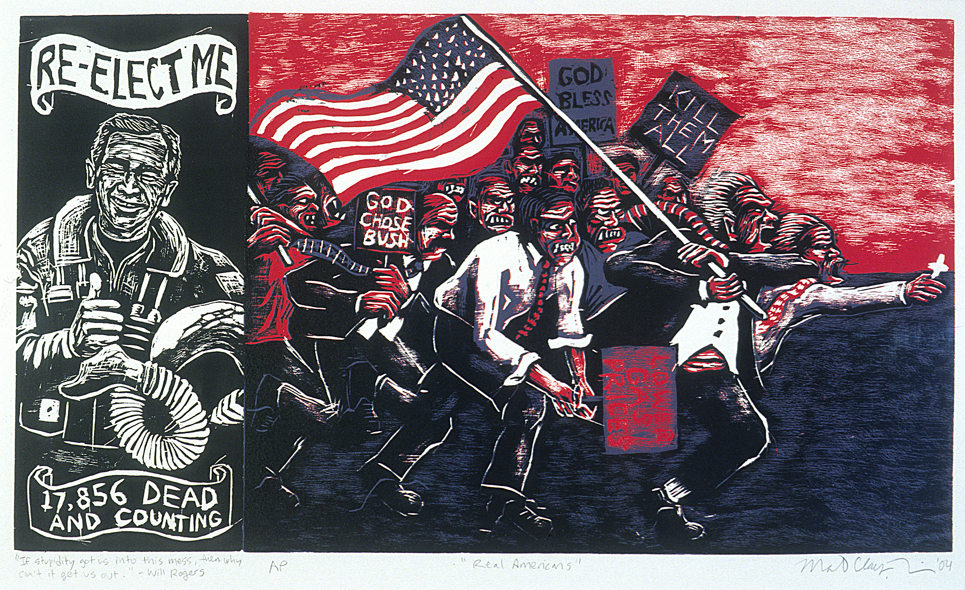 "Matthew Clay-Robison.  Real Americans . Woodcut. 22""x 15"""