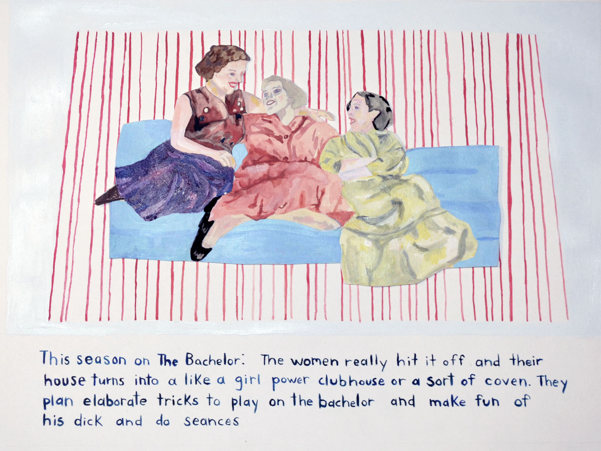 """Anna Millholland. The Women . Mixed Media on Paper. 16"""" x 12""""."""
