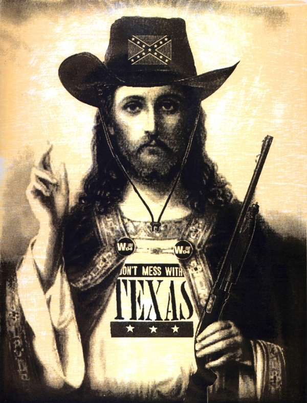 "Matthew Clay Robison.  Greatest Texan Ever (Republican Jesus) . Woodcut & Silkscreen. 11""x15"""