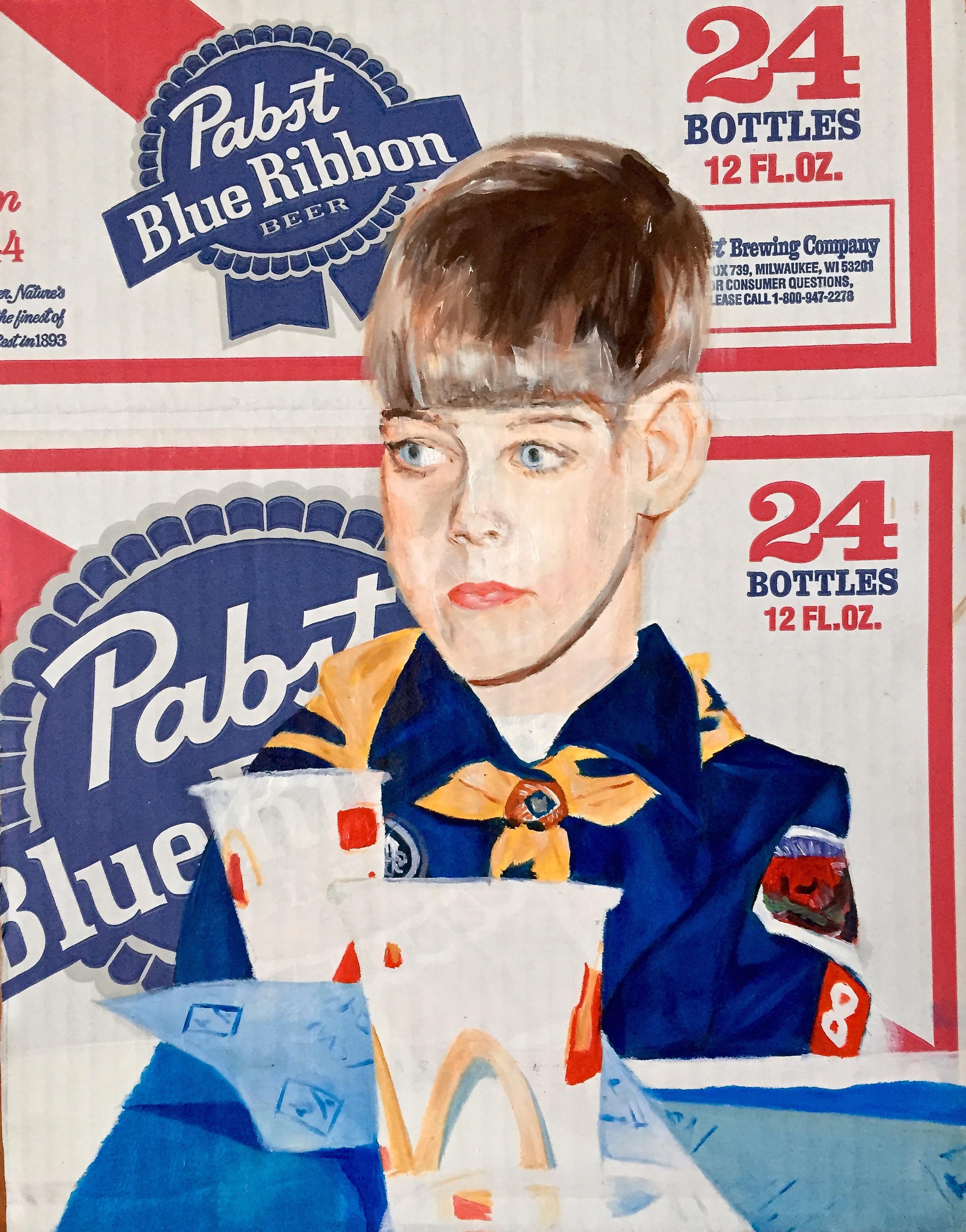 "Alecia Thomasson.  Mama's Boy .Oil and Acrylic on Found Object. 14"" x 11""."