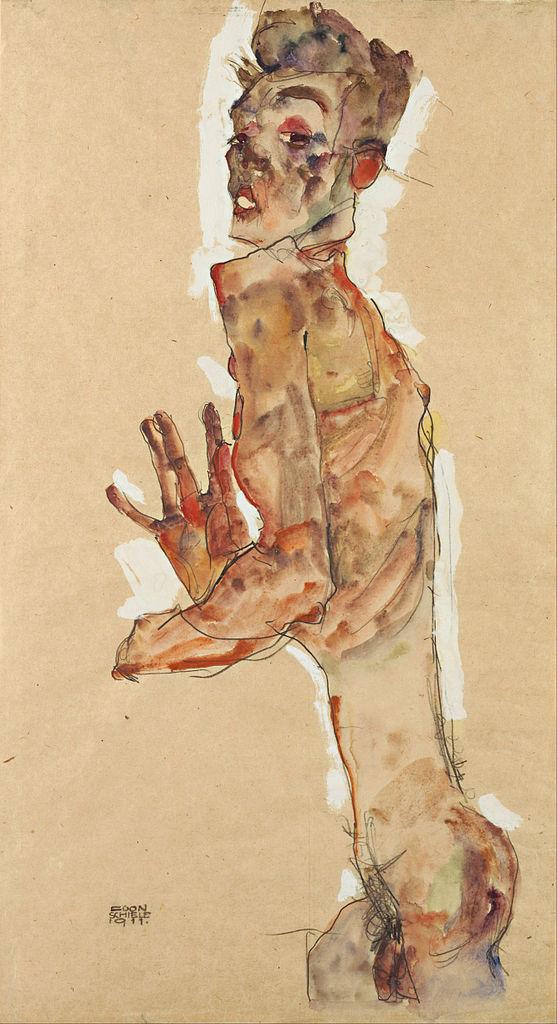 "Egon Schiele ""Self-Portrait with Splayed Fingers"""