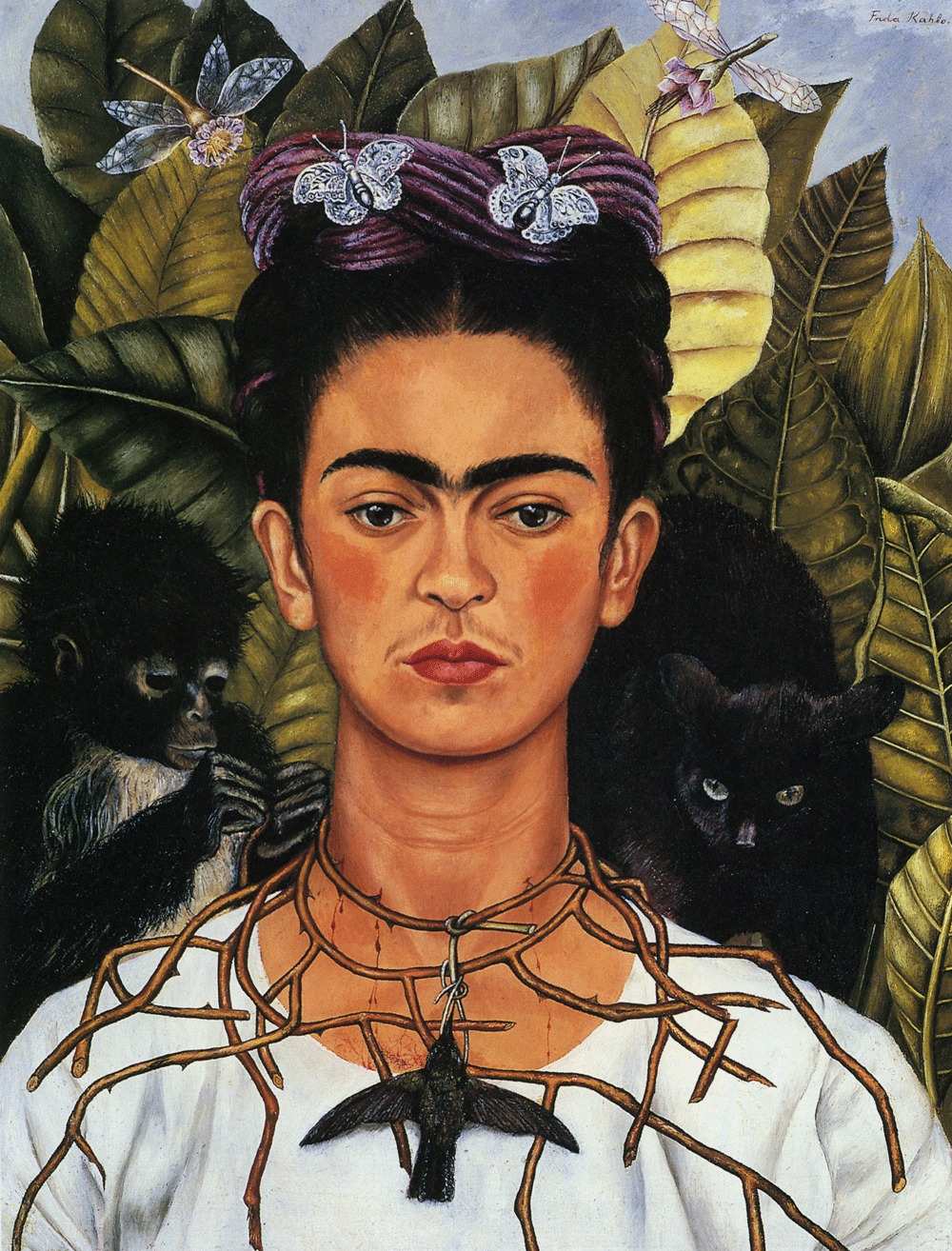 """Frida Kahlo """"Self Portrait with Thorn Necklace and Hummingbird"""""""