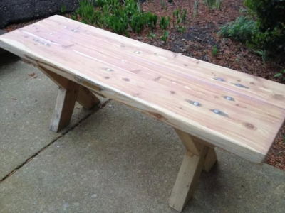 cedar and steel peg bench handcrafted by Craftsman reclaimed
