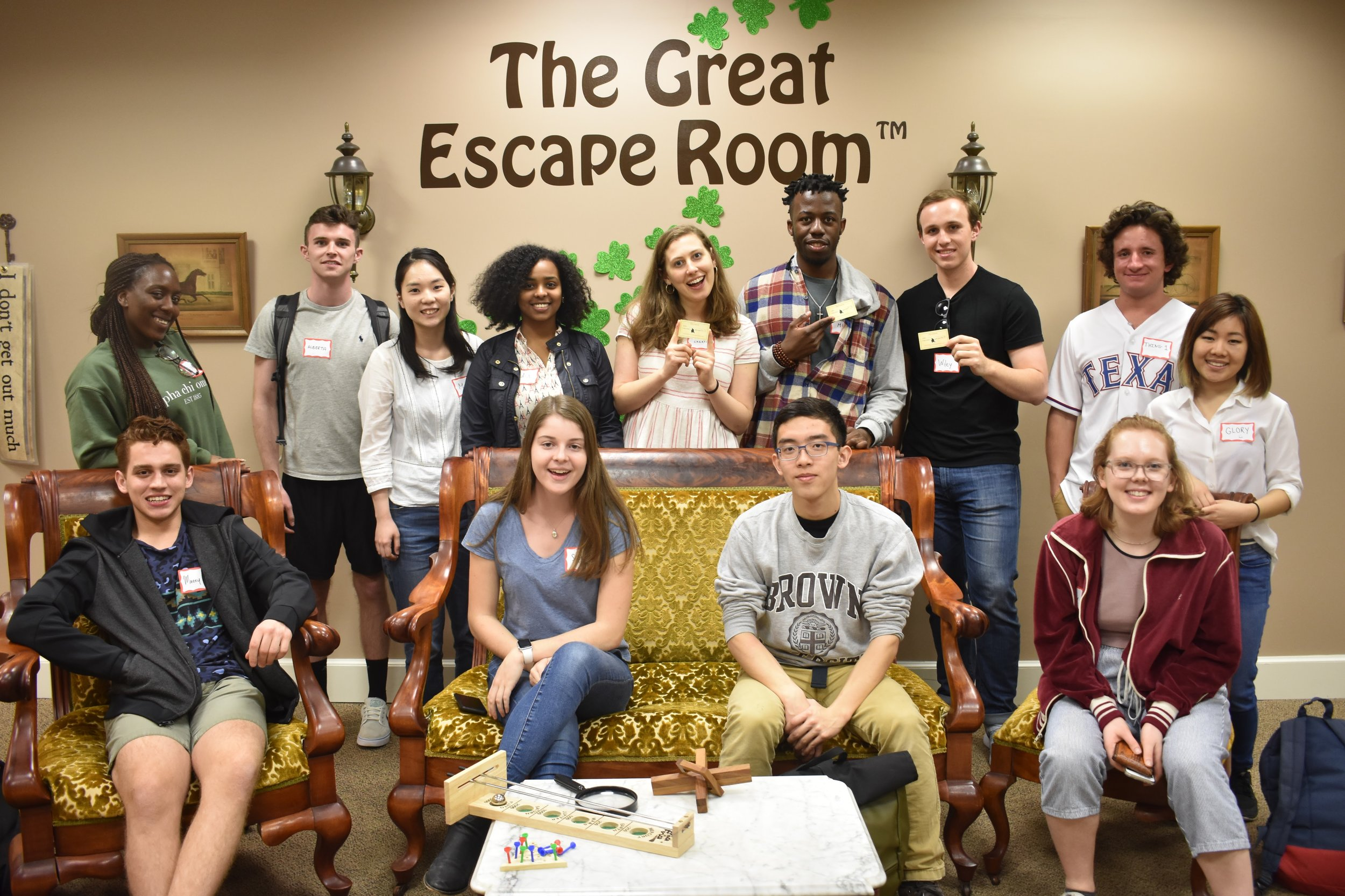 Squad photo with some of the Team 'Condensed Milk' Escape the Room Spring '17 Champions