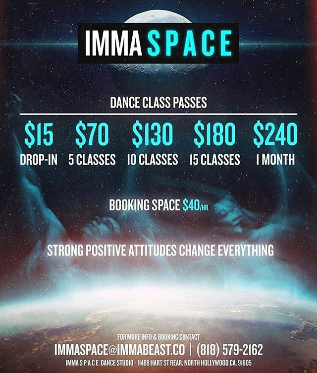 🚨 SALE • SALE • SALE 🚨 ⁣ Email us at immaspace@ImmaBeast.co for all your Booking needs ‼️ ⁣ ⁣ Classes are LESS THAN 5 DOLLARS per class for a month when you sign up for the unlimited class pass 👌🏼 ⁣ ⁣ We also offer studio space for any of your production needs at a great price 🔥⁣ •⁣ •⁣ •⁣ #immaspace #strongpositiveattitudeschangeeverything #allarewelcome