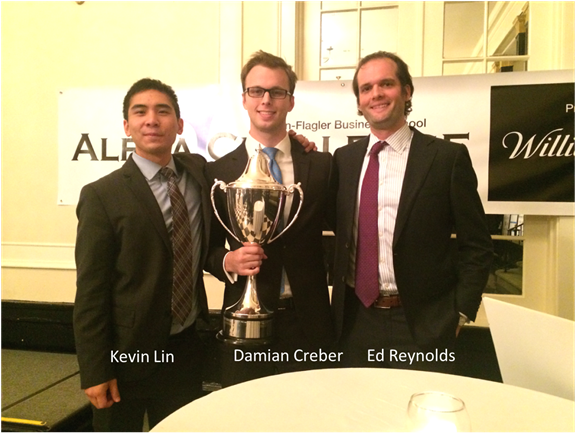 the winning unc alpha challenge Team:  congrats to csima members kevin Lin, damian creber and ed reynolds for taking home first prize with their cardtronics short and mrc global long PITCH