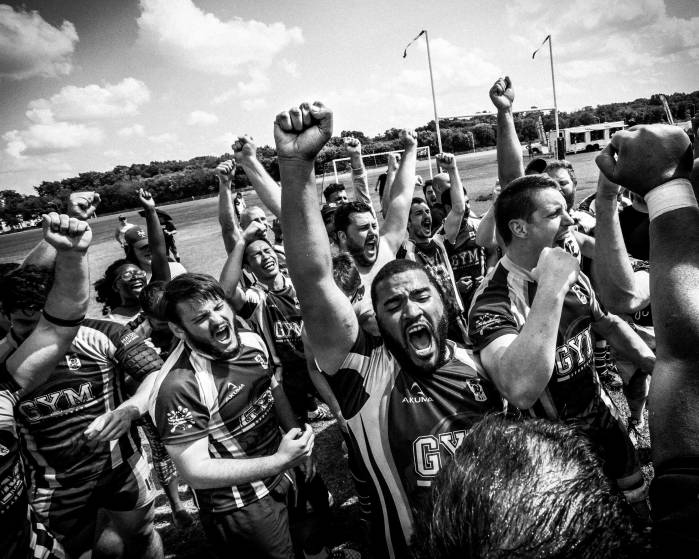 The New York Gotham Knights players celebrate their Bingham Plate win over the London King's Cross Steelers on May 29, 2016.  Pic by  Giovanni Capriotti