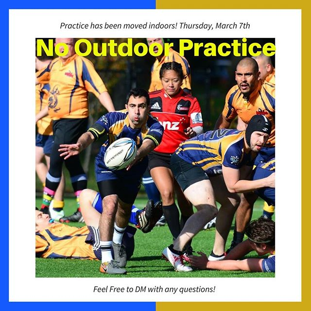 Outdoor Practice has been Moved indoors for tonight only! Feel free to contact directly with any questions!! Look forward to seeing you tonight! #gothamrugby #unitetheempire #igrugby #igr