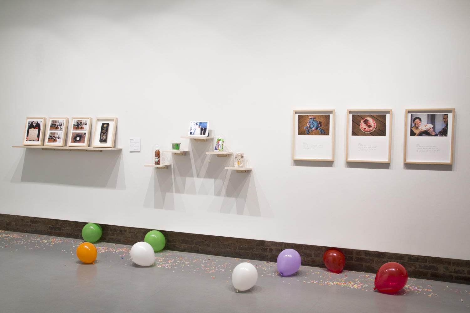 """Installation view of the exhibition """"Assignment: Happy Birthday"""" (2015) at Hamiltonian Gallery"""