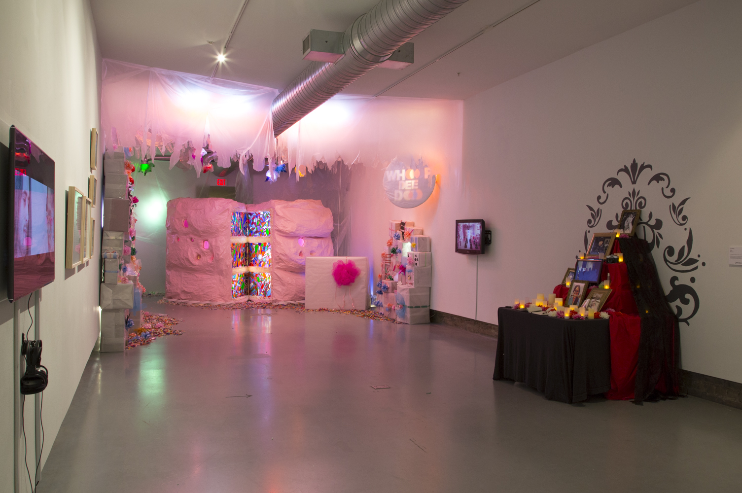"""Installation view of the exhibition """"Assignment: Happy Birthday"""" (2015) at Hamiltonian Gallery  *Birthday Cake Installation by Whoo Dee Doo (2015)"""