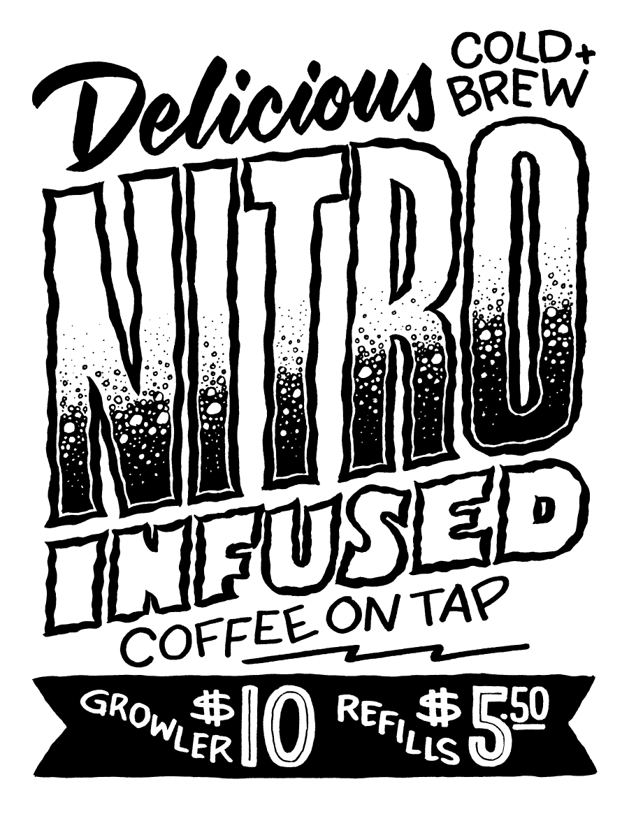 Vector Art. Custom lettering used for in-store signage for Rise Up Coffee.