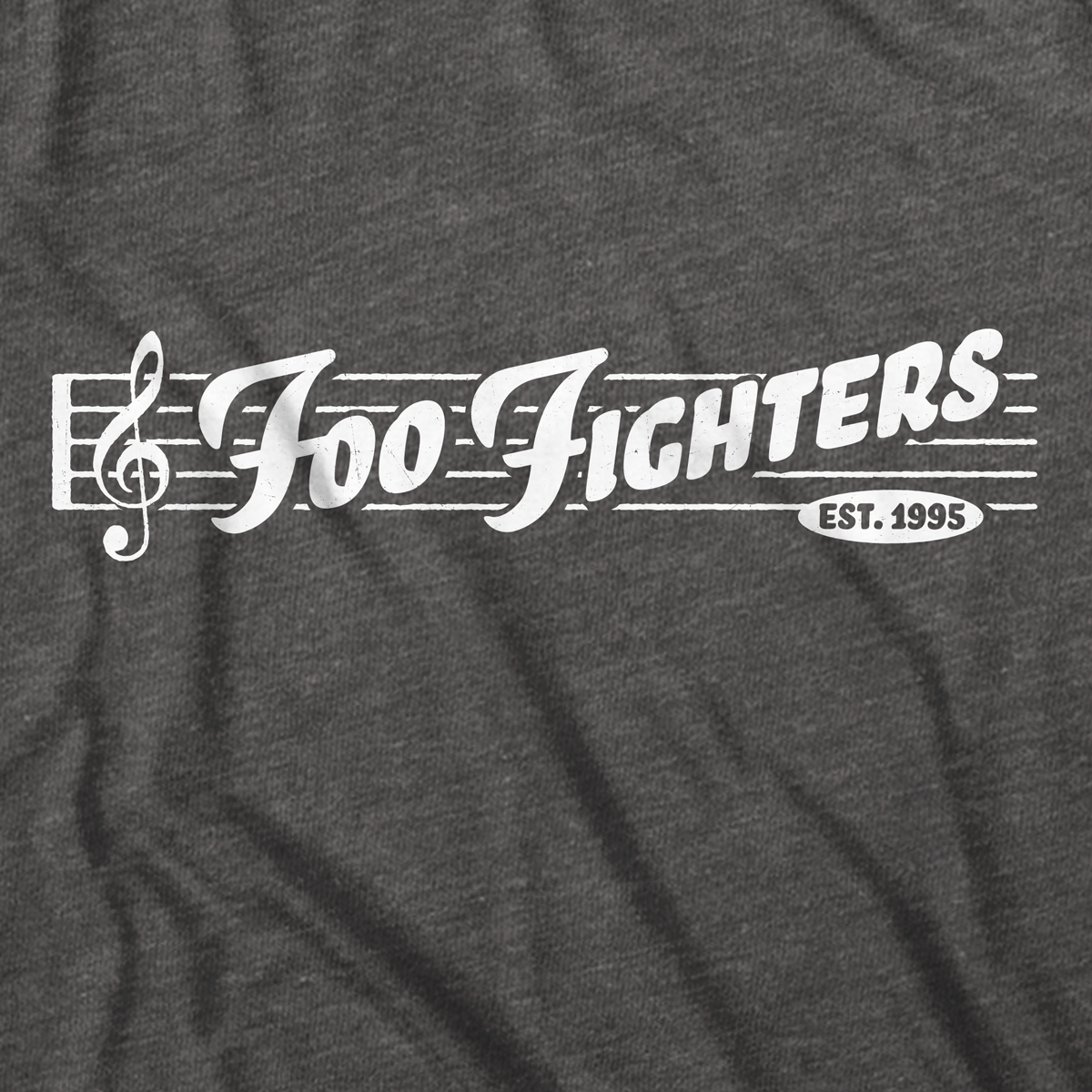 One color white print on a dark heather gray shirt.