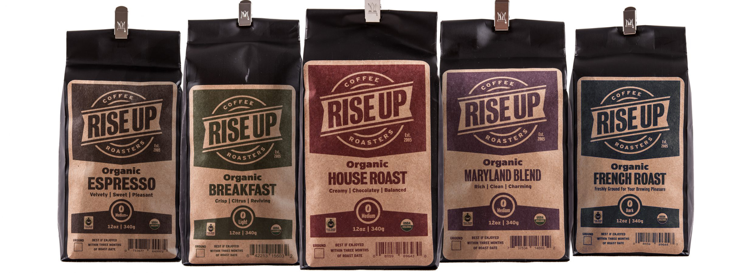 These five coffees make up the core line of retail coffee varieties offered by Rise Up Coffee Roasters.