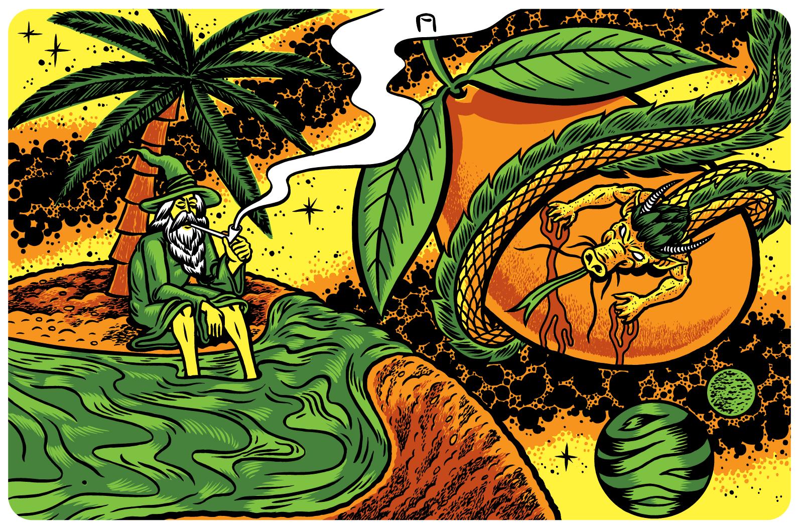 """Illustration for Neshaminy Creek's """"Mango Shape Of Haze To Come""""."""