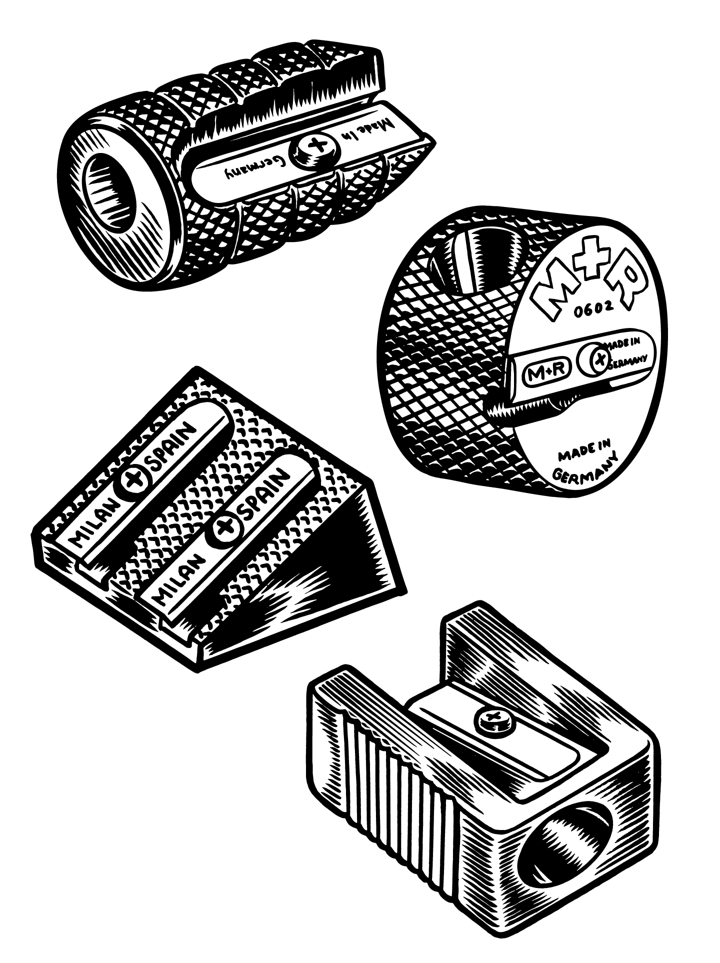Four of my pencil sharpeners. Permanent India Ink on Denril.