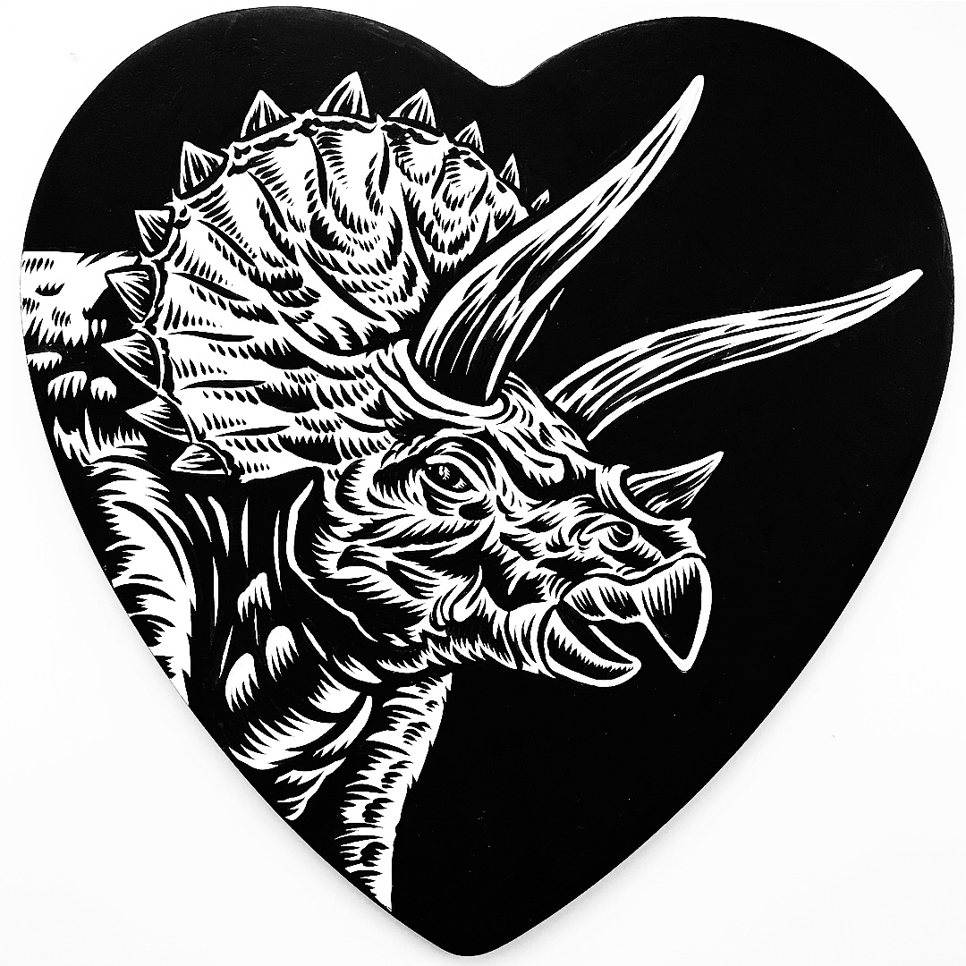 My contribution to the Jinxed Heart show, February 2018. Permanent India Ink on a wooden heart ( wooden heart provided to all participants by the organizers).