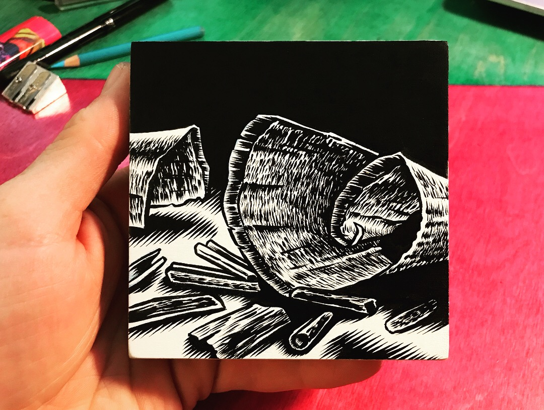 """My Contribution to the Art For Hackett group art show. Permanent India Ink on 4""""x4"""" wooden canvass (Canvass provided to all participants by organizers)."""