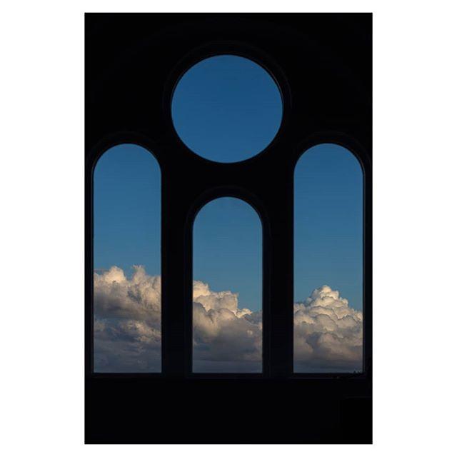 Angel, September showers #weather #angel #angelwindows #interiordesign  #whiteinteriors #churchwindows #monestary #clouds #bluesky