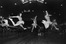 """Image: Garry Winogrand, Cheerleaders from """"Women are Beautiful"""" portfolio, c. 1969-70; gelatin silver print, edition 22 of 80. Collection of Orange County Museum of Art; gift of Bunny Freidus. Copyright: The Estate of"""