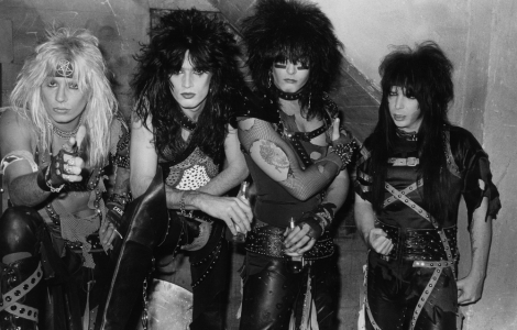 """Mötley Crüe,"" 1983 – Gary Leonard Collection. Donning war paint and ready to conquer the world , Mötley Crüe led the first of the wave of 1980s heavy metal bands on the Sunset Strip and were the first to achieve major national success."
