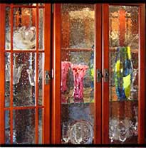 Cabinet glass.