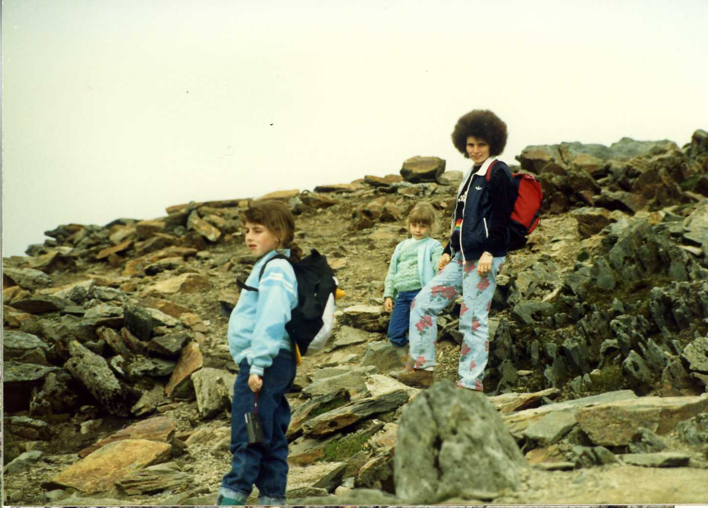 Climbing Snowdon 25 May 1987, with Liz and Mum (Dad's photo)