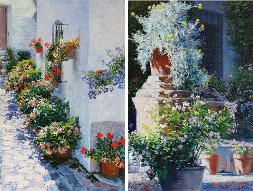 "(from left)  ""Calleja de las Flores,""  oil, 8 x 12 in.; "" Pedestal de Piedra ,"" 8 x 12 in., oil"