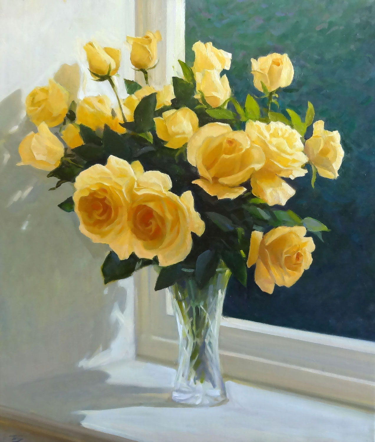 YELLOW ROSES  oil, 23 x 27 in.