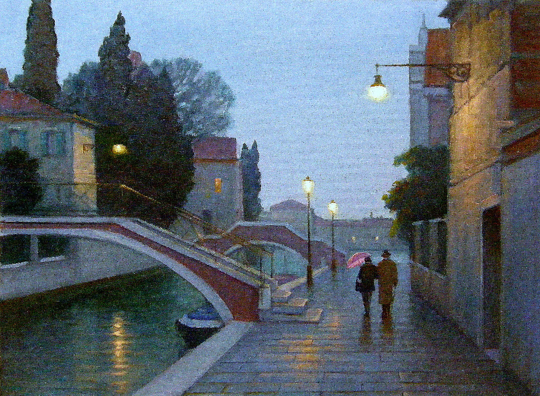 EVENING ON JUDECCA ISLAND, VENICE  oil, 24 x 18 in.