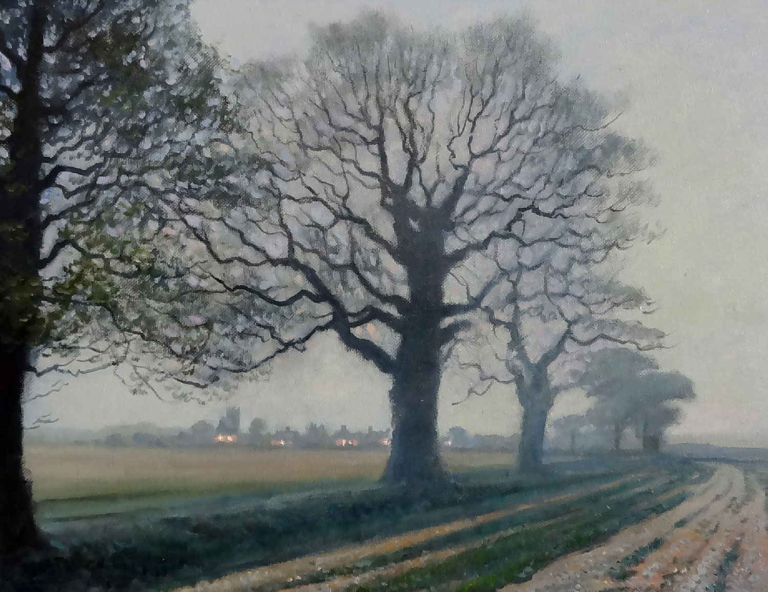 MISTY EVENING IN HAMPSHIRE, ENGLAND  oil, 18 x 14 in.
