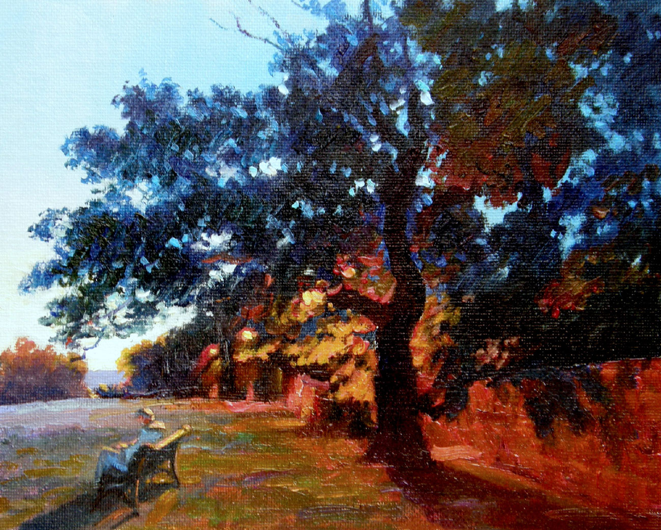 EVENING IN THE SUNNINGFIELDS PARK, LONDON  oil, 12 x 8 in.