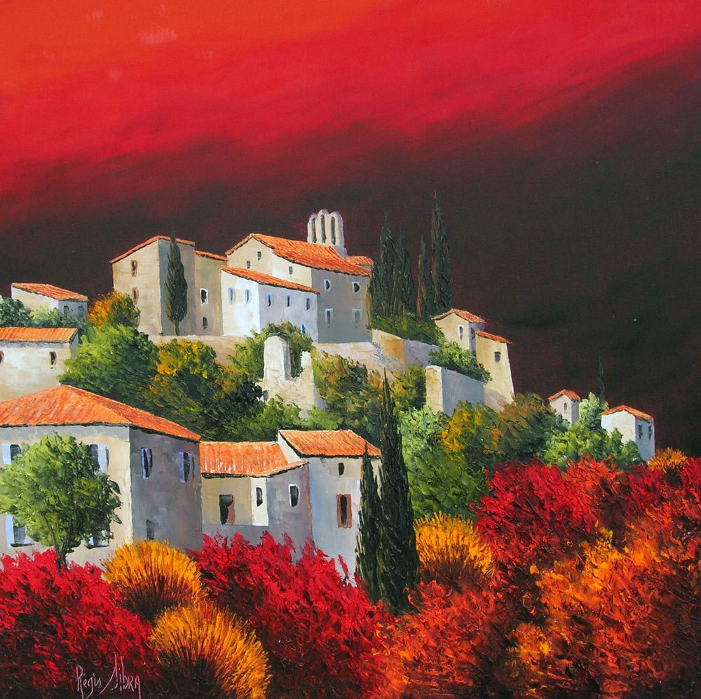 METHAMIS VILLAGE DU LUBERON  oil, 24 x 24 in.