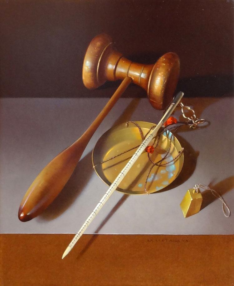 LA JUSTICE  egg tempera on panel, 9 x 11 in.