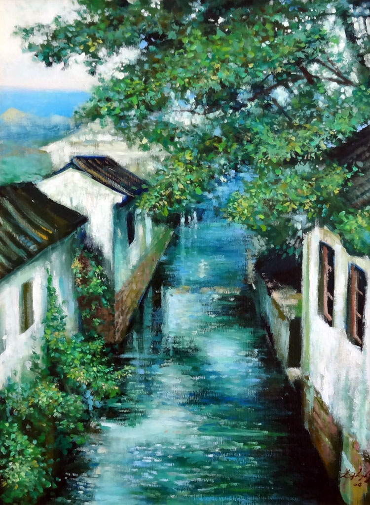 PEACEFUL CANAL  oil, 18 x 24 in.