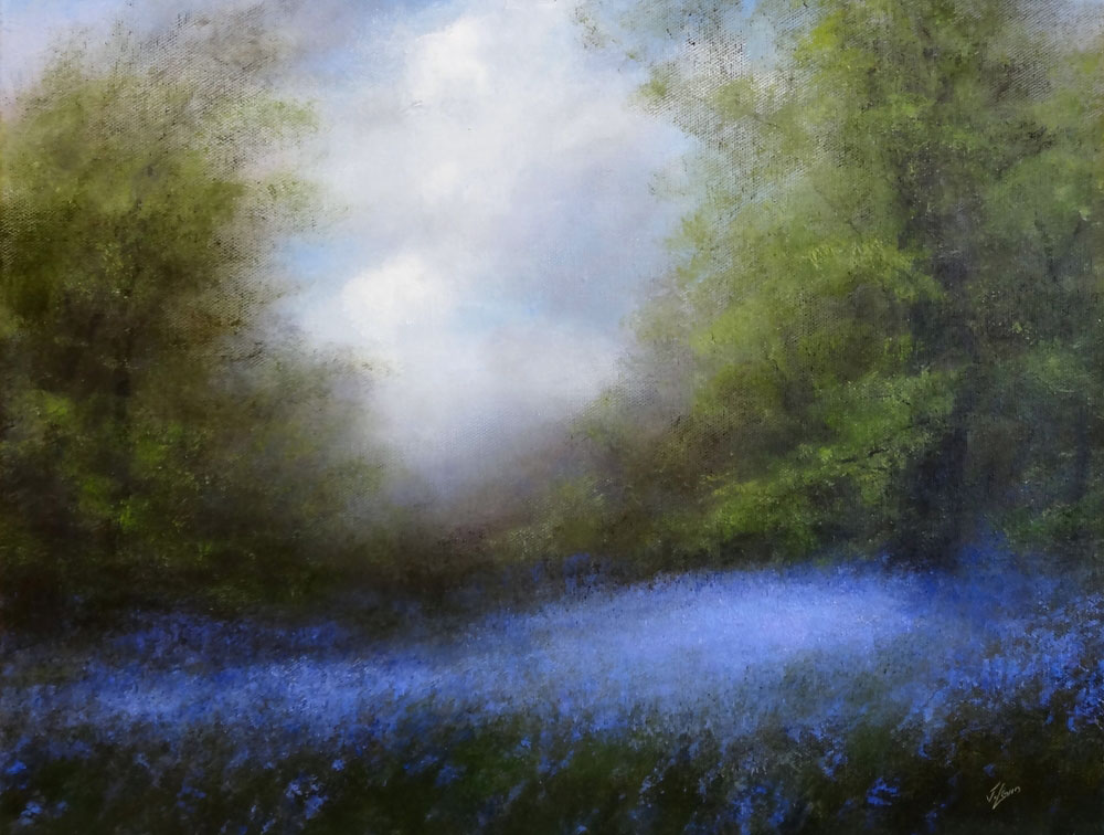 BLUEBELLS AND SKY  oil, 18 x 14 in.