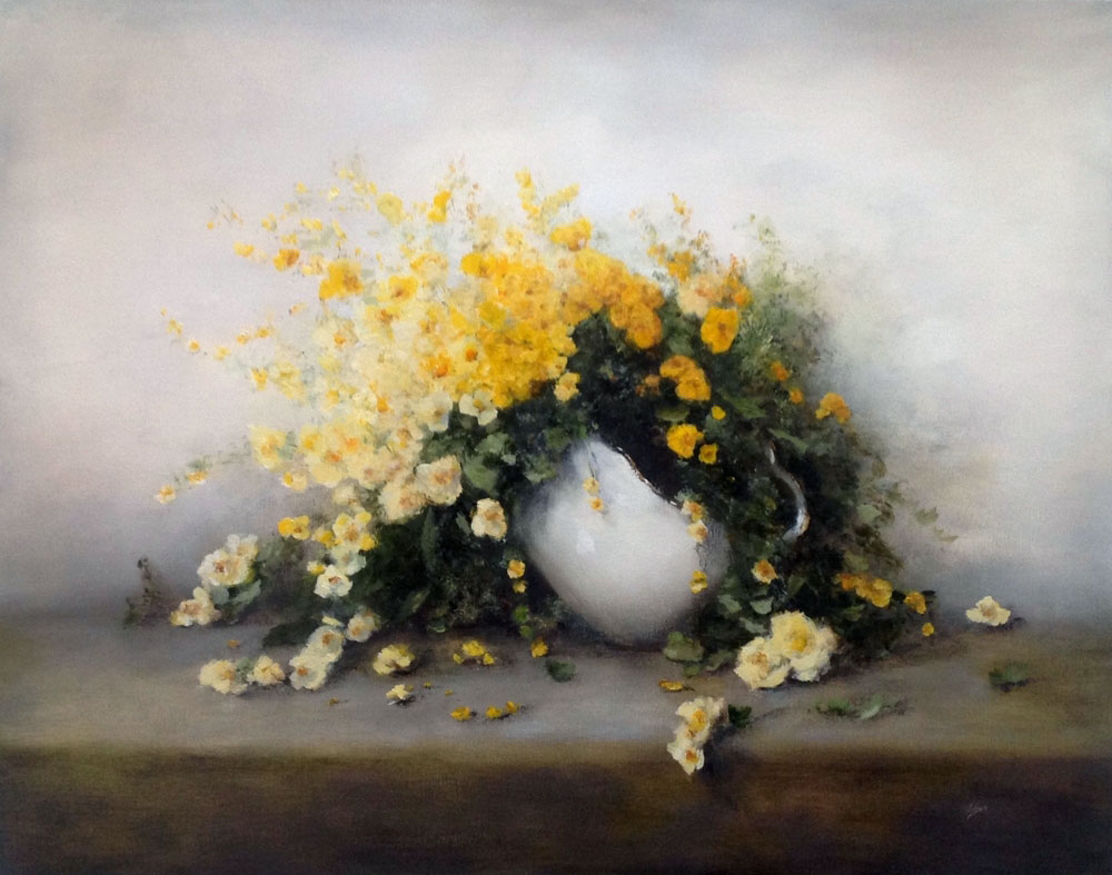 FRIENDSHIP (YELLOW FLOWERS)  oil, 30 x 24 in.