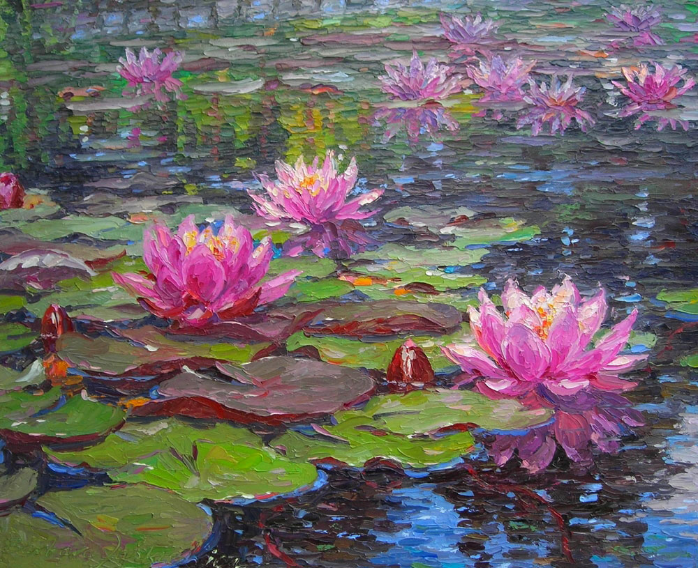 WATER LILIES  oil, 24 x 20 in.    This Painting has sold.  We are awaiting more paintings by Barbara.