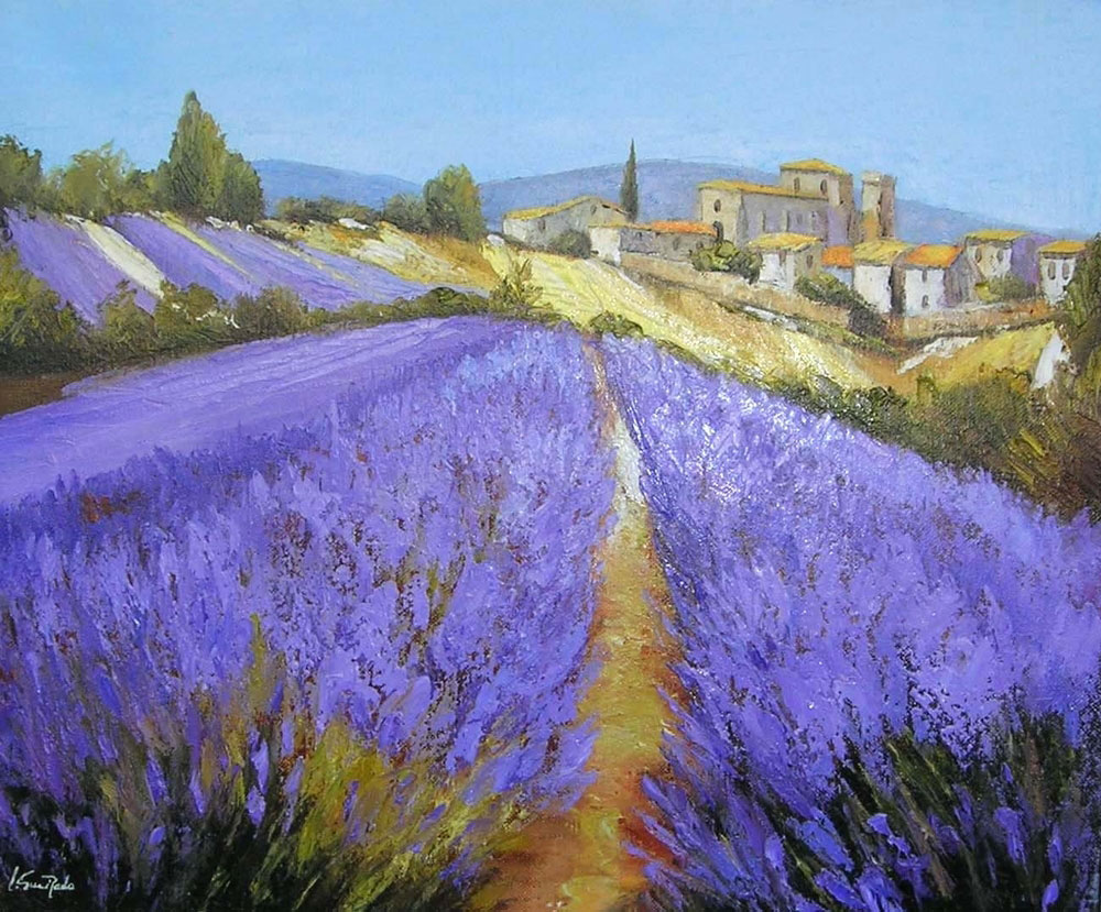 CHAMP DE LAVANDE A VALENSOLE  oil, 22 x 18 in.