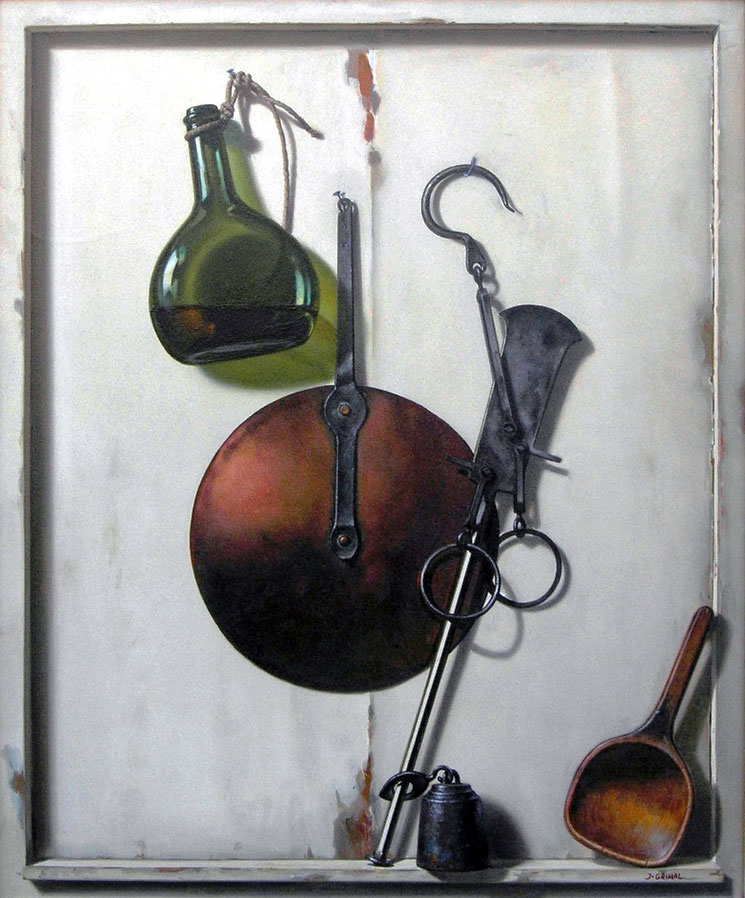 USTENSILES AVEC BOUTEILLE DE VIN  oil, 22 x 26 in.