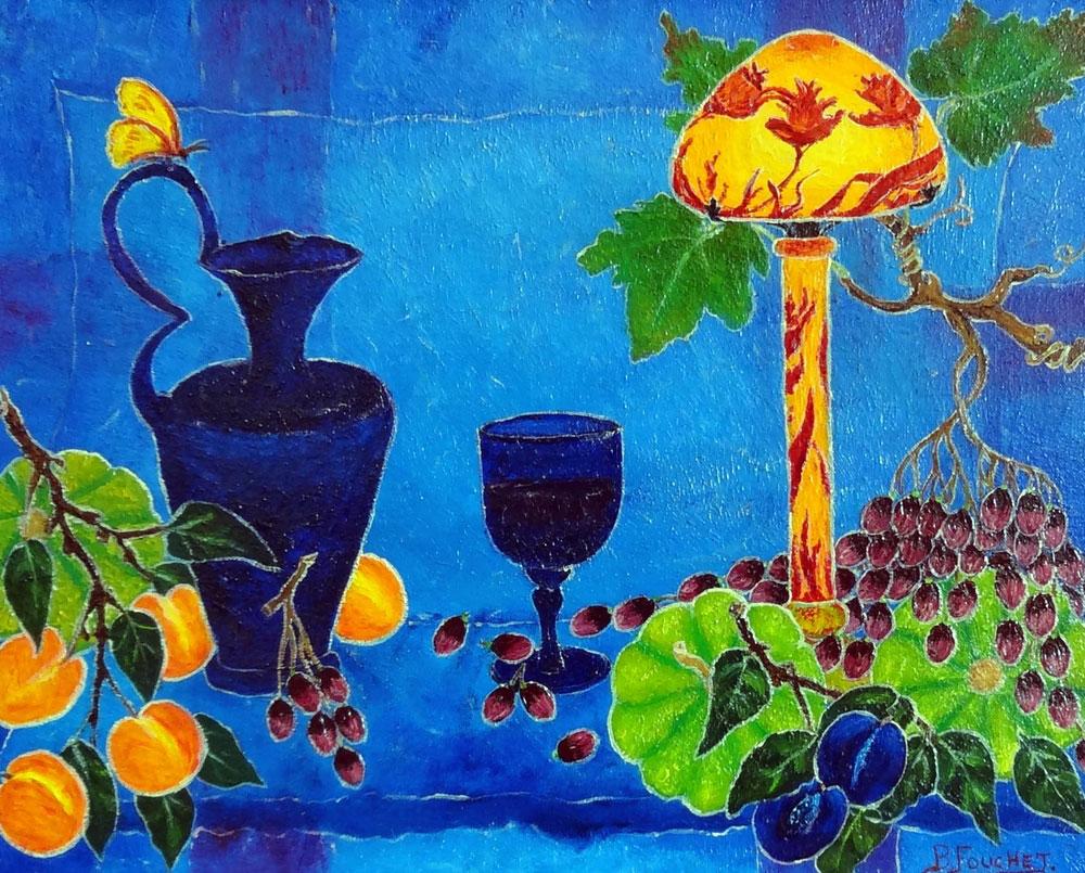 SOUS LA LAMPE  oil, 16 x 13 in.