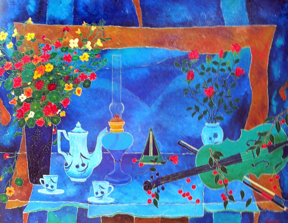 PAUSE CAFE  oil, 46 x 35 in.