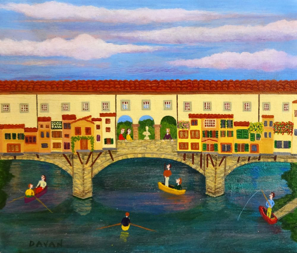 PONTE VECCHIO  oil on stone, 6 x 5 in.