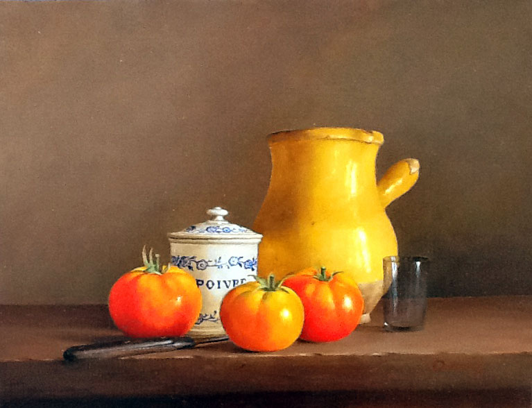 TOMATE ET CRUCHE  oil, 14 x 11 in.